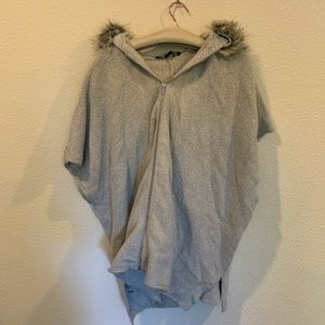 French Connection gray cape faux fur lined hoodie